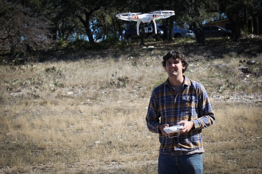 Flying the quadcopter at the ranch