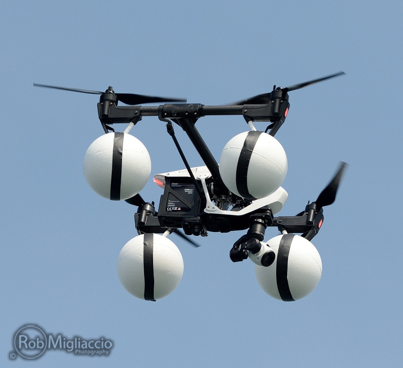 DJI Inspire 1 with styrofoam floats