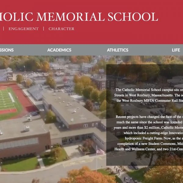 Catholic Memorial School webpage with aerial drone video